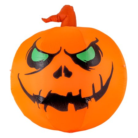 Scary Halloween Pumkins (Halloween Haunters 4ft Inflatable Smiling Face Pumpkin LED Yard Prop)