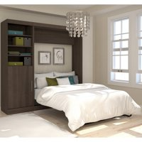 """Nebula by Bestar 90"""" Queen Wall Bed Kit with Open Storage Unit and Door in Antigua"""