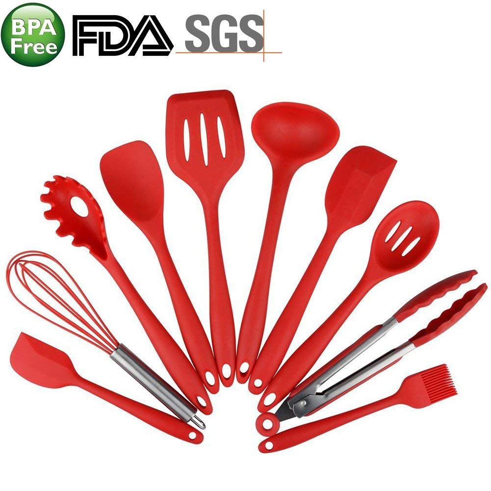 10 pcs set Silicone Heat Resistant Kitchen Cooking Utensils spatula Non-Stick Baking Tool tongs ladle gadget (red)