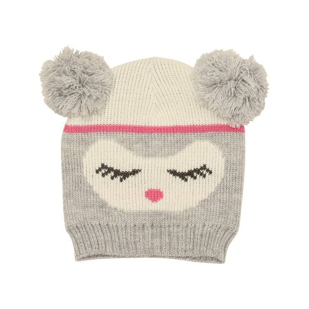c887ae57593 Gold Medal - Gold Medal Girls Light Gray Face Pattern Double Pom-Pom Accent  Knit Beanie Hat - Walmart.com