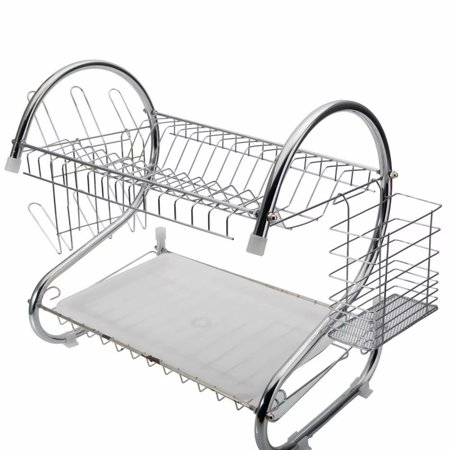 Noroomaknet Dish Rack Drain Set for Kitchen,2 Tier Dish Rack Multifunctional S-shaped Dish Shelf Drain