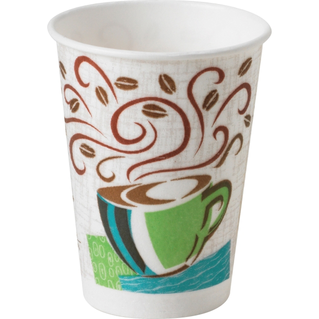 Dixie PerfecTouch Coffee Haze Hot Cups - 8 fl oz - 50 / Pack - White, Brown, Green - Paper - Hot Drink
