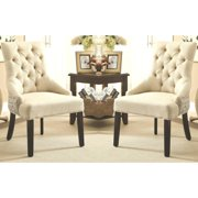 A Line Furniture La'Moldura Script Design Button Tufted Dining Chairs with Nail Head Trim (Set of 2)