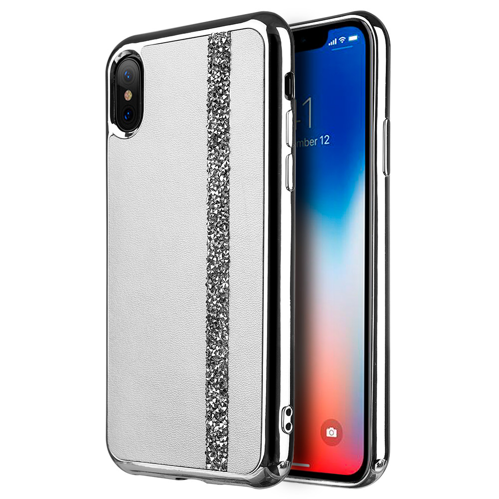 MUNDAZE Silver Chrome Diamond Belt Case For Apple iPhone X Phone