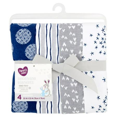 Parent's Choice Receiving Blankets, Blue, 4 Pack Royal Blue Receiving Blanket