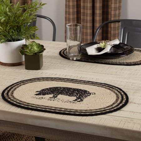 Oval Placemat Gifts - Ashton & Willow Bleached White Farmhouse Tabletop Kitchen Miller Farm Charcoal Pig Jute Stenciled Nature Print Oval Placemat Set of 6