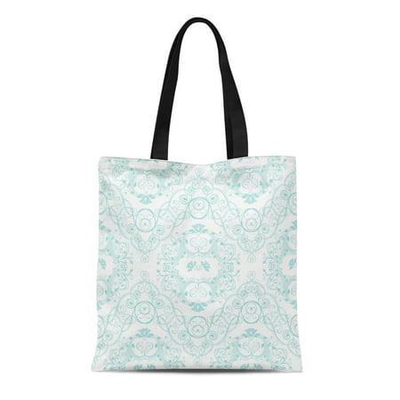 ASHLEIGH Canvas Tote Bag Damask Vintage Floral Lace in Teal Elegant Victorian Classic Reusable Handbag Shoulder Grocery Shopping