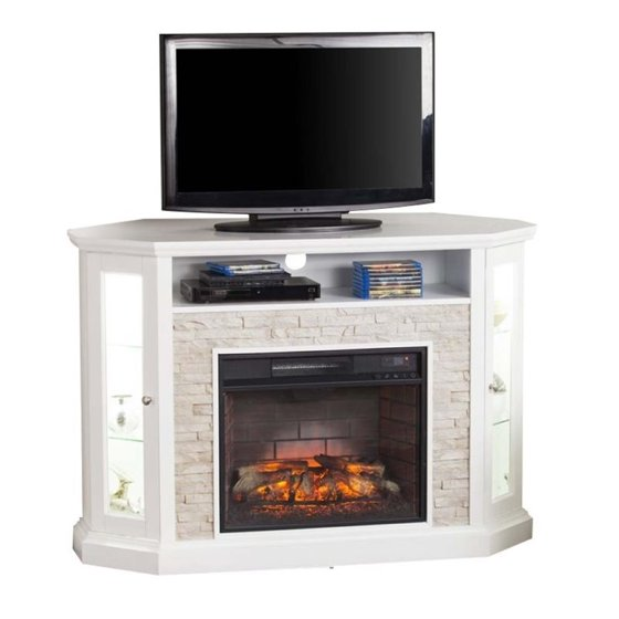 Pemberly Row Corner Electric Fireplace Tv Stand In White Walmart Com