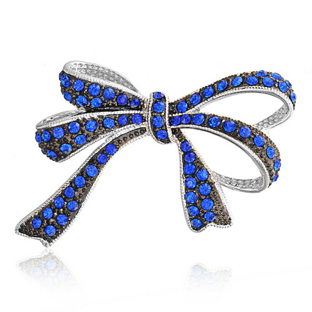 Blue Simulated Sapphire Crystal Bow Brooch Rhodium Plated by Bling Jewelry