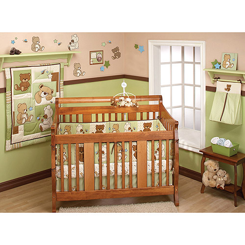 Little Bedding by NoJo Dreamland Teddy 10pc Nursery in a Bag Bedding Set