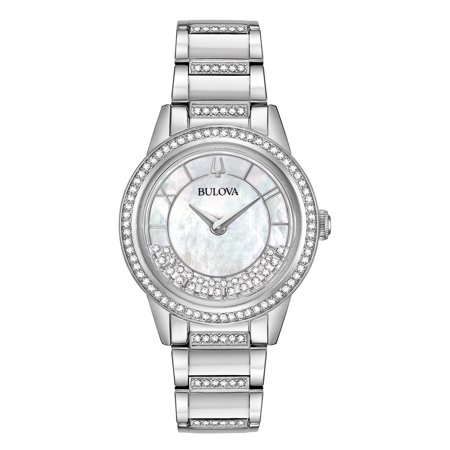 Bulova Women's TurnStyle Crystal Accent with Mother of Pearl Dial Watch (96L257)