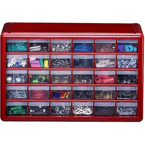 Stack-On 30-Drawer Storage Cabinet, Red - Walmart.com