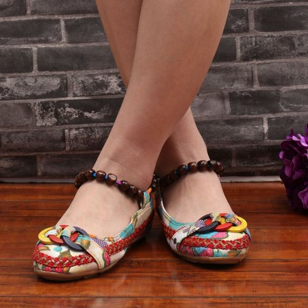 Beaded Lace Manual Beijing Shoes Asakuchi Breathable Shoes Women Single Shoes - image 6 de 10