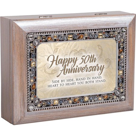 Cottage Garden Happy 50th Anniversary Jeweled Pewter Colored Keepsake Music Box plays You Light Up My Life #JM334GB Shaped Jeweled Box