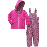Girls' Quilted Top and Cheetah Print Bottom Snowsuit with Pockets