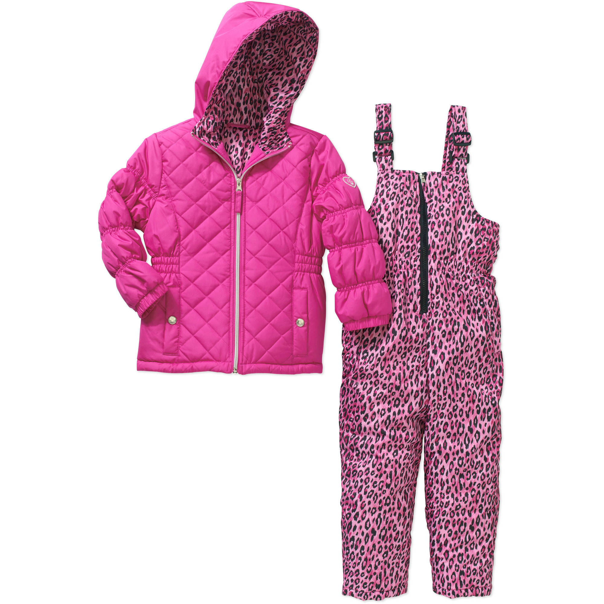 Pink Platinum Girls' Quilted Top and Cheetah Print Bottom Snowsuit with Pockets