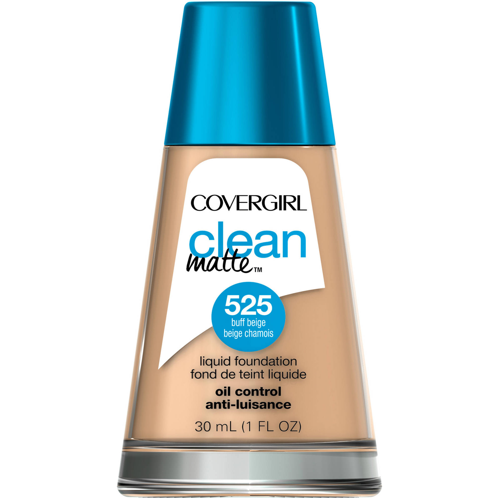COVERGIRL Clean Matte Liquid Foundation, 525 Buff Beige, 1 fl oz