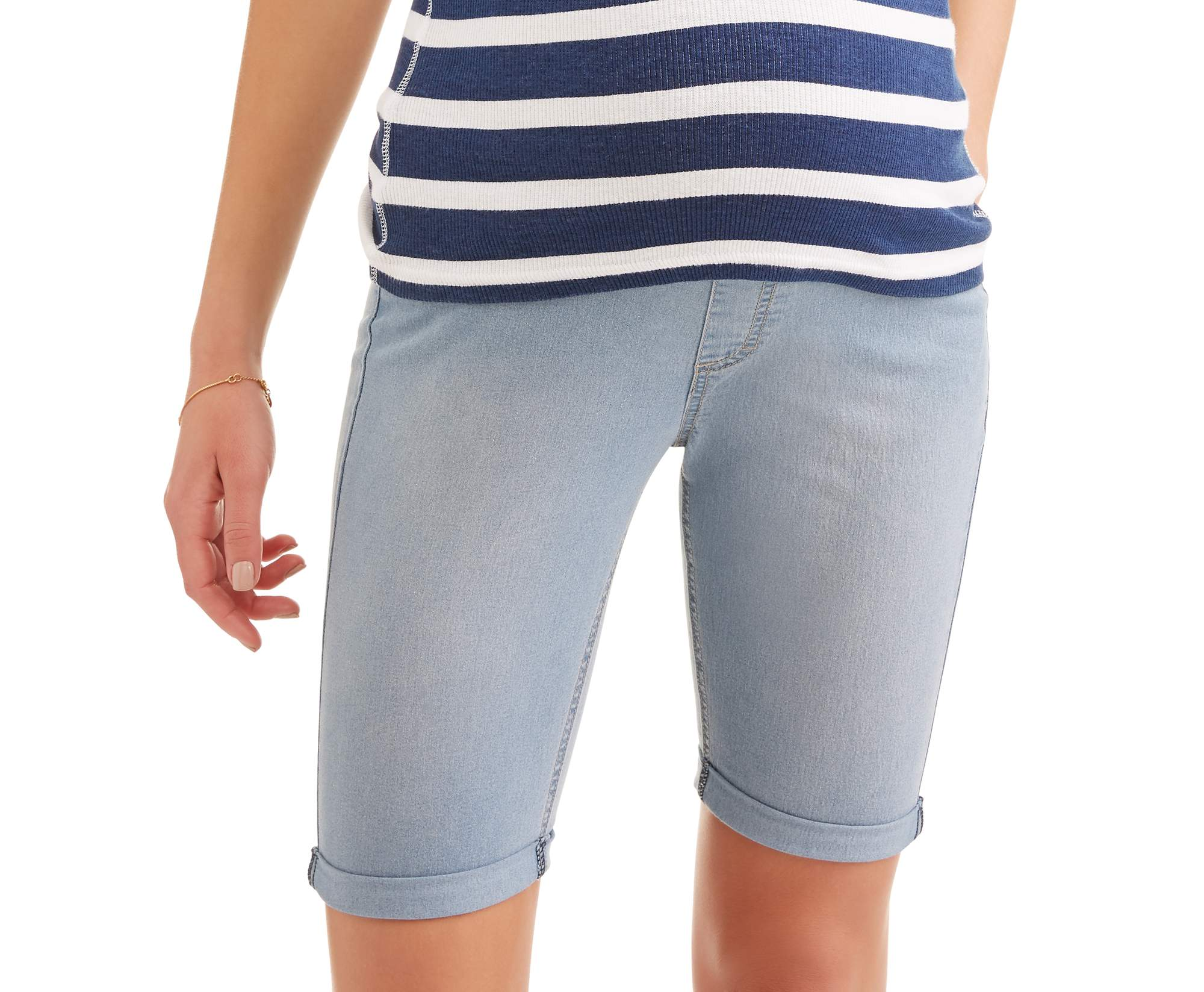 Maternity Full Panel Super Soft 5 Pocket Bermuda Shorts, Available in Plus Sizes by