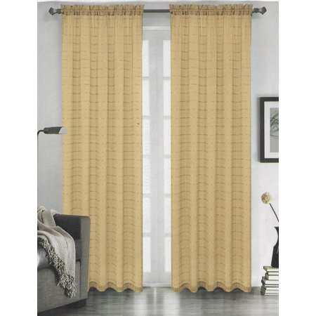 Set Of 2 Lily Plaid Sheer Curtains Rod Pocket Top Gold