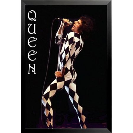 Buy Art For Less 'Queen Freddie Mercury Harlequin Outfit Music - Stage Costume Music Icon' Framed Vintage Advertisement
