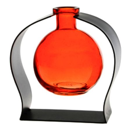 New Contemporary Tabletop Glass Ball Rooting or Bud Vase w/Gift Box ~ Orange G310VM Colored Floral Glass Vase with Contemporary Black Metal Stand