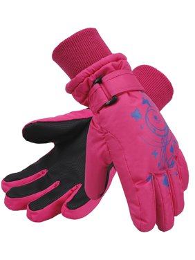 Girls Butterfly Printed 3M Thinsulate Waterproof Snow Ski Gloves