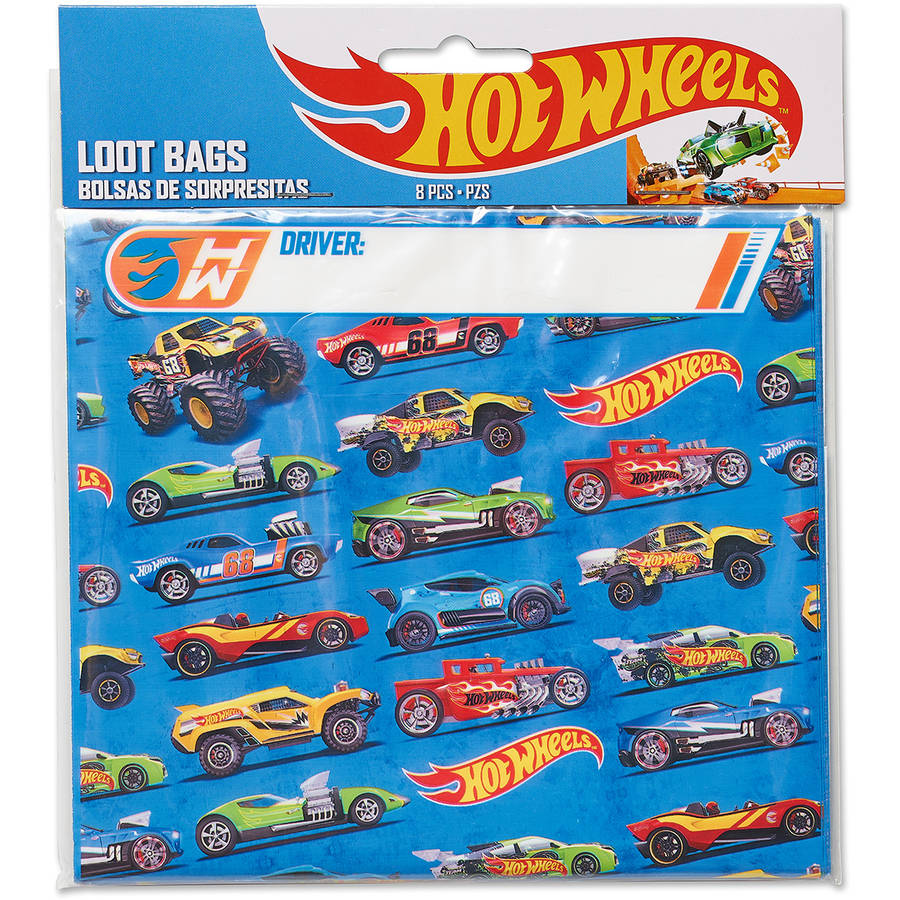 Hot Wheels Treat Bags, 8 Count, Party Supplies