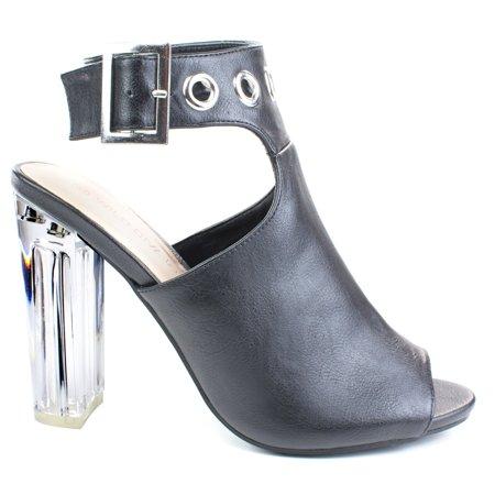 (Morris64 by Wild Diva, Black high Perspex block heel bootie w peep toe large ankle buckle)
