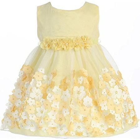 3b6e599ce8c BNY Corner - Baby   Infant Flower Girl Dress Tulle Overlay Satin Dress  Yellow XS KD333 - Walmart.com