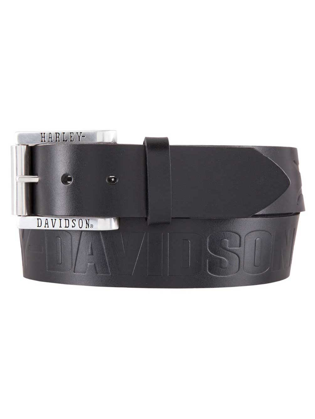 Embossed Flames Black Leather Belt