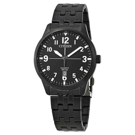 - BI1055-52E Men's Black IP Stainless Steel Black Dial Date Quartz Watch