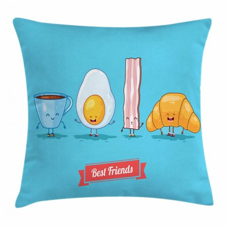 Bacon Throw Pillow Cushion Cover, Comic Figures of Breakfast Menu as Cup of Coffee Egg Bacon Croissant Best Friends, Decorative Square Accent Pillow Case, 18 X 18 Inches, Multicolor, by