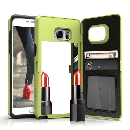 Samsung Light Edge (Zizo VETTORE Series compatible with Samsung Galaxy S7 Edge Case with Built In Mirror and Kickstand LIGHT GREEN)