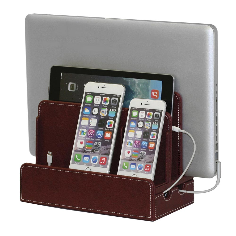 Burgundy Leatherette (Textured) Multi-Device Charging Station and Dock