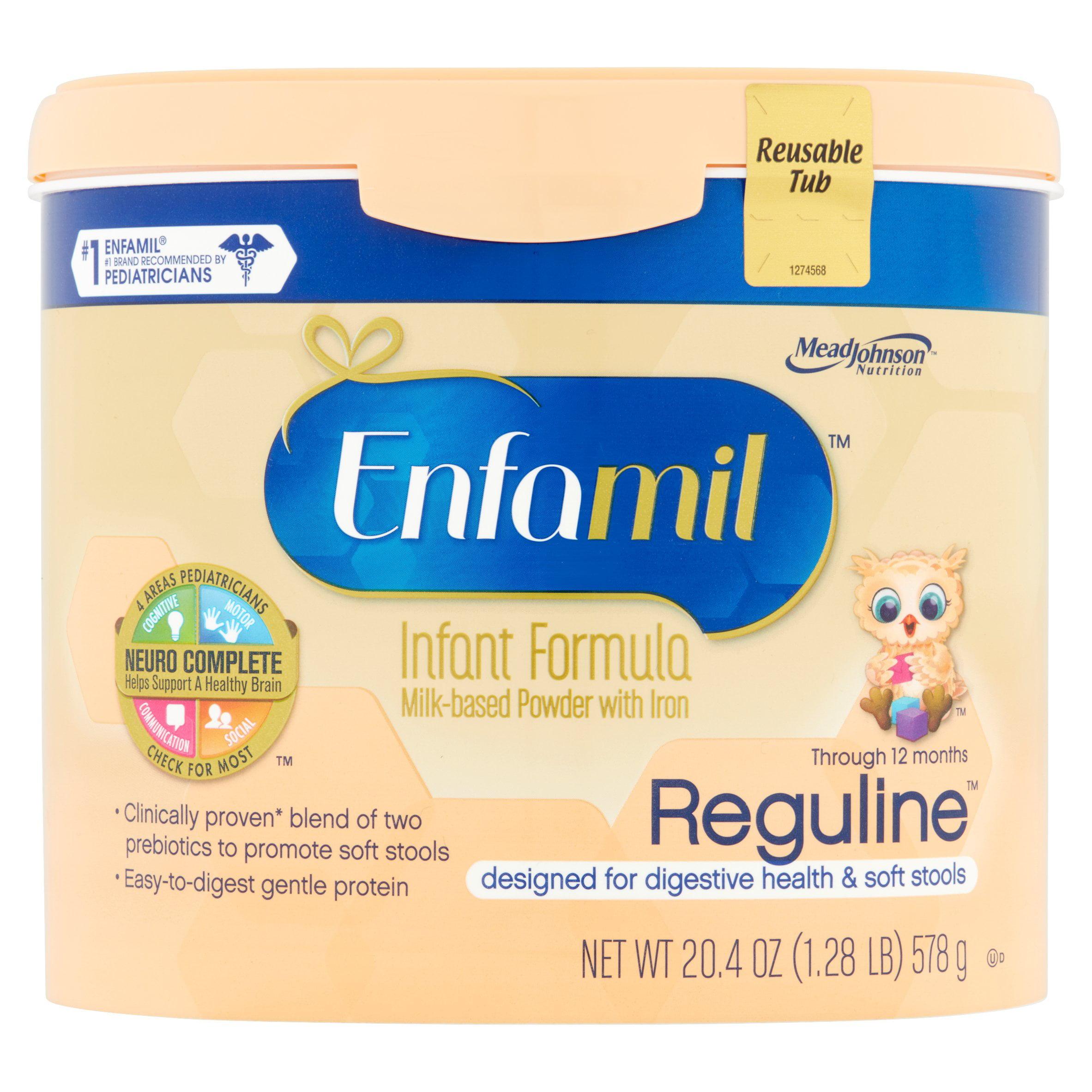 Enfamil Reguline Milk-Based Powder with Iron Infant Formula Through 12 Months, 20.4 oz, 4 count by Enfamil