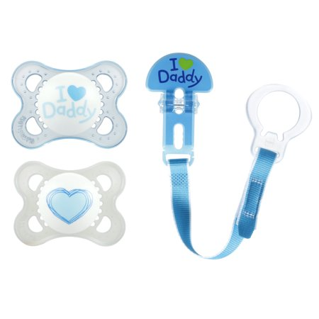 (2 Pack) MAM Love & Affection Daddy Orthodontic Pacifier and Pacifier Clip, 0-6 Months, 2 pacifiers, 1 pacifier clip, Boy
