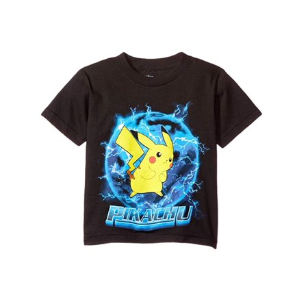 Pokemon Big Boys' Pikachu Ball Tee, Black