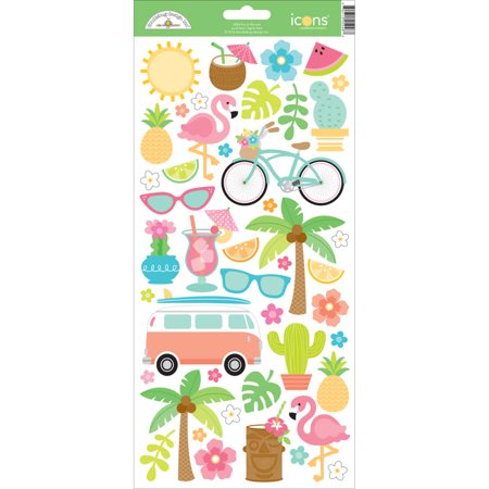 Fun In The Sun Cardstock Stickers 6 Inch X 13 Inch Icons