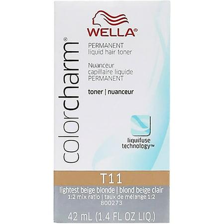 Wella COLOR CHARM, HAIR COLOR Permanent Liquid Hair Toner, Lightest Beige Blonde [T11] 1.40