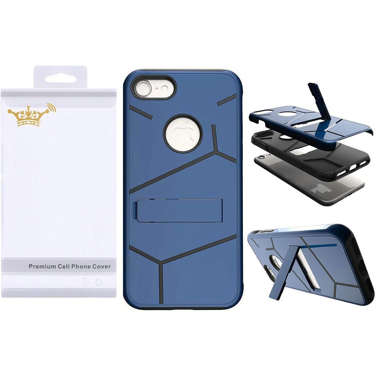 iPhone 7 Case, by Insten Dual Layer [Shock Absorbing] Hybrid Stand Hard Plastic/Soft TPU Rubber Case Cover for Apple iPhone 7, Blue/Black