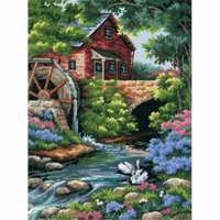"""""""Old Mill Cottage"""" Needlepoint Kit, 12"""" x 16"""", Stitched In Thread"""