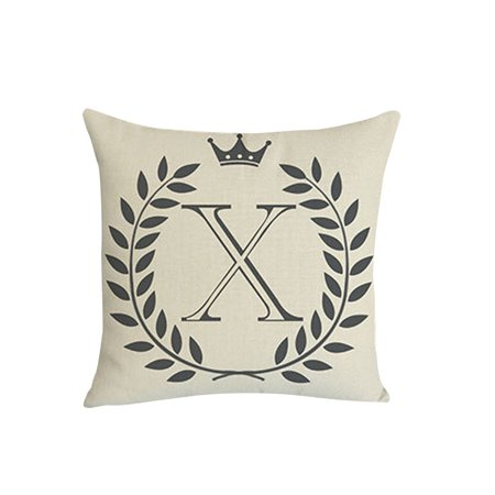 Cotton Linen Letters Pattern Cushion Cover Sofa Waist Throw Pillow Case Home Bed Decor ()