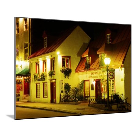 Historic Restaurant at Night, Quebec City, Canada Wood Mounted Print Wall Art By Wayne