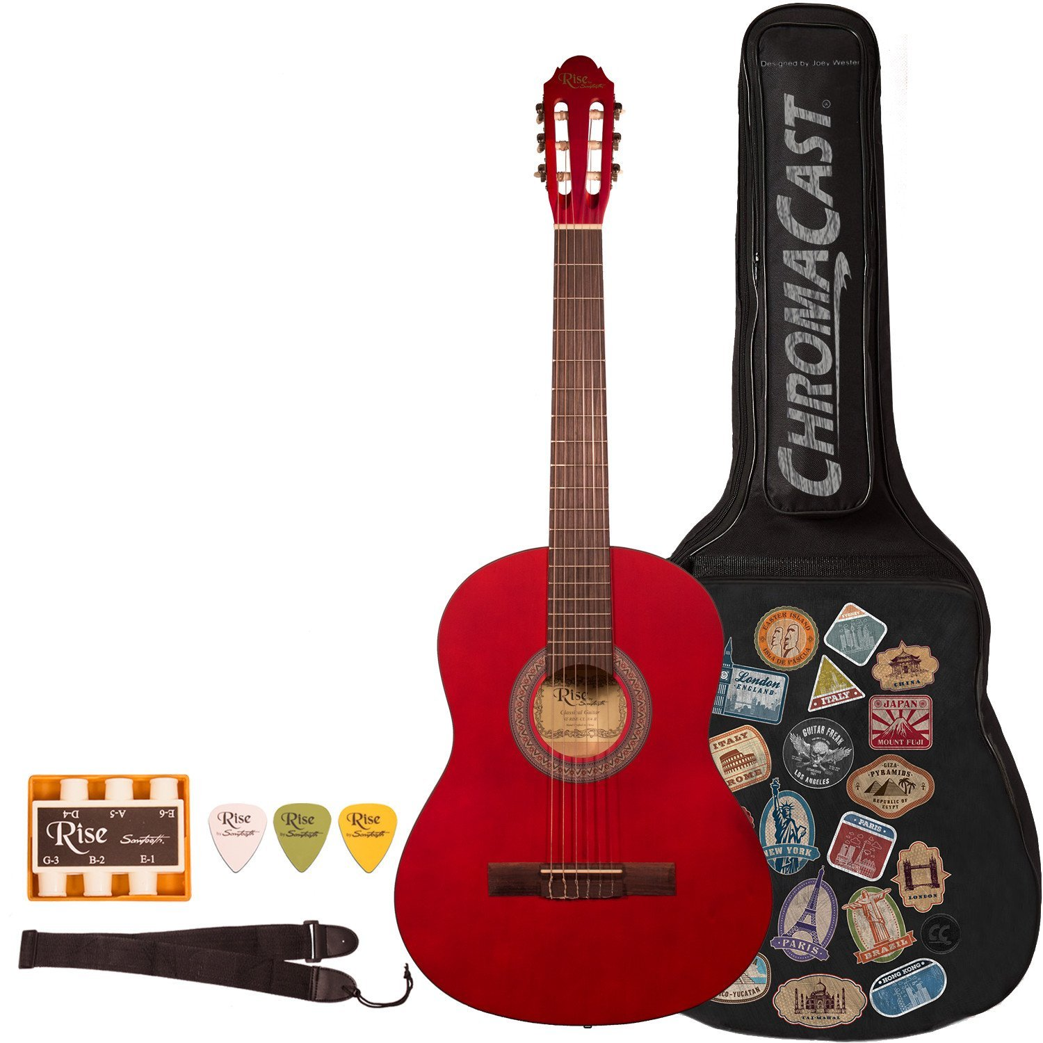 Rise by Sawtooth 3/4 Size Beginner's Acoustic Guitar with World Tour Graphic Gig Bag and Accessories, Satin Red Stain