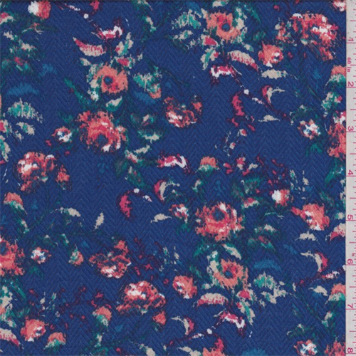 Sapphire Multi Floral Herringbone Rayon Challis, Fabric By the Yard
