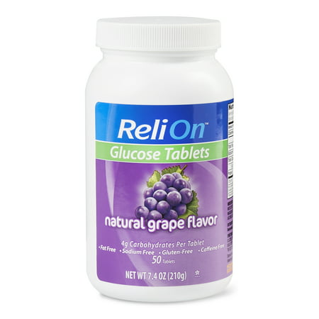 ReliOn Grape Glucose Tabs, 50 Ct (Rose Hips 50 Tabs)