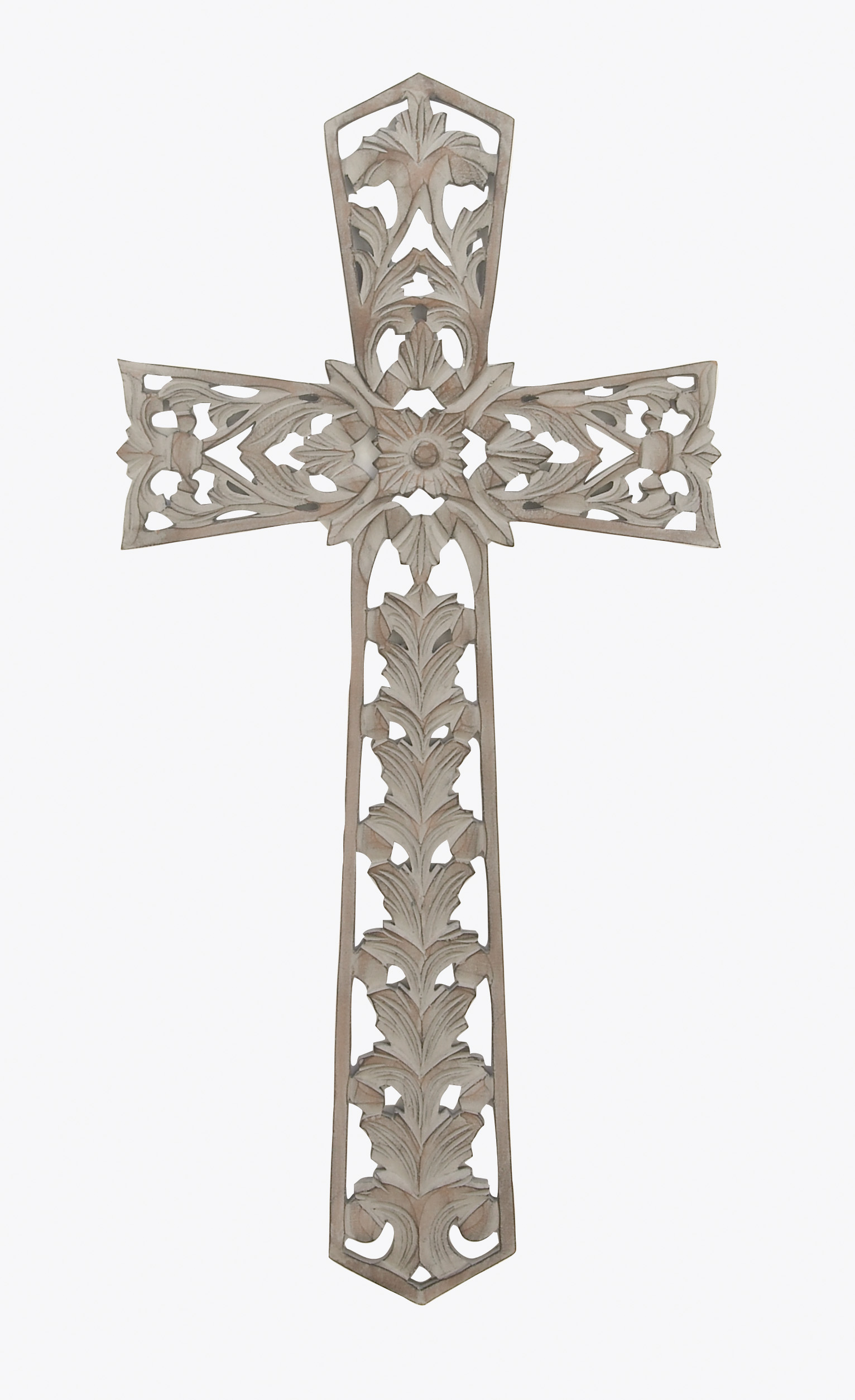 Gracefully Engraved Ash Gray Wall Cross Decor