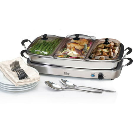 1 Buffet Server (Elite Platinum Deluxe 3x2.5-qt Buffet Server with 8-qt Oven Safe Pan/Silicone Handles)