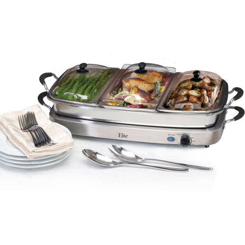 Elite Platinum Deluxe 3x2.5-qt Buffet Server with 8-qt Oven Safe Pan/Silicone Handles