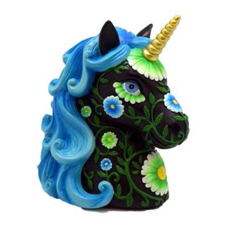 Unicorn Money Bank Flower Eyelashes Golden Spiral Horn Blue Flowing Hair Majestic Magical Place For Savings Slot In Back Rubber Stopper on Bottom 6